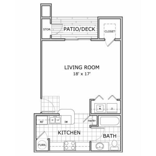 studio apartment floor plan image