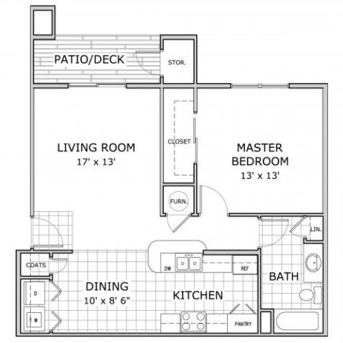 floor plan image of one bedroom apartment homes at Palm Village