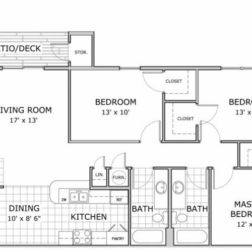 floor plan image of 3 bedroom apartment