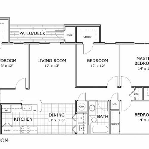 4 bedroom apartment floor plan image
