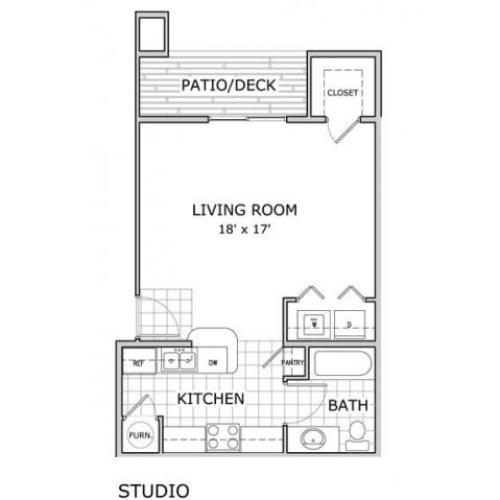 floor plan image of a studio apartment home