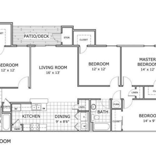 floor plan image of 4 bedroom apartment with 2 bathrooms