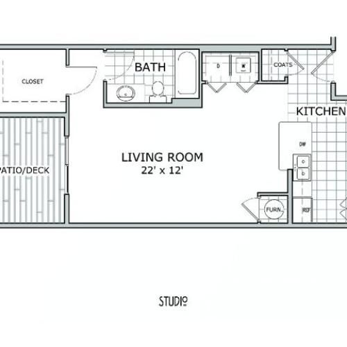 floor plan image of studio apartment