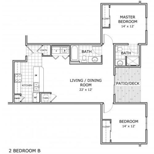floor plan image of 2 bedroom apartment home in Springfield, MO