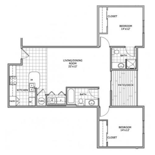 floor plan image of a 2 bedroom apartment