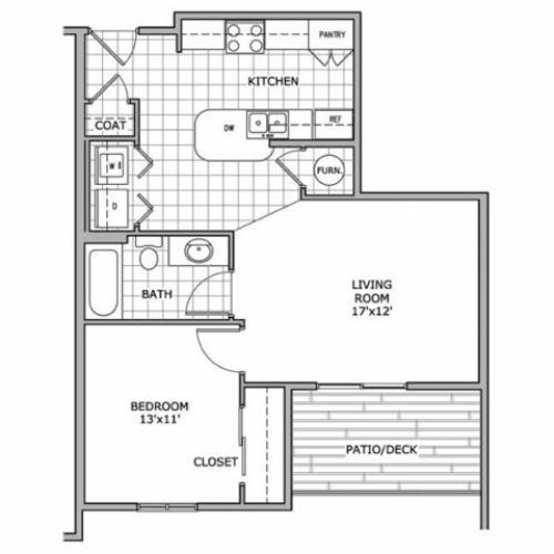 floor plan image of a 1 bedroom apartment