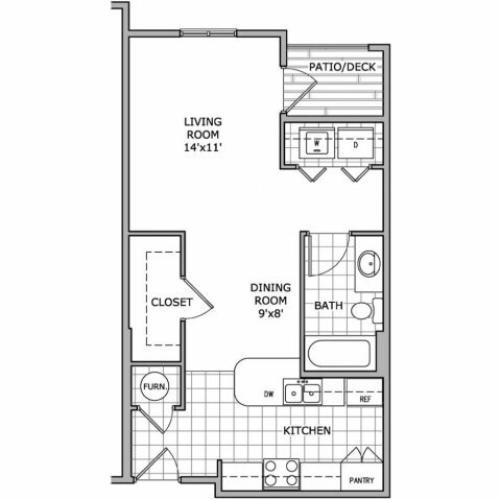 floor plan image of a studio apartment home