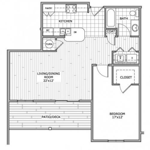 floor plan image of a 1 bedroom and 1 bathroom apartment home