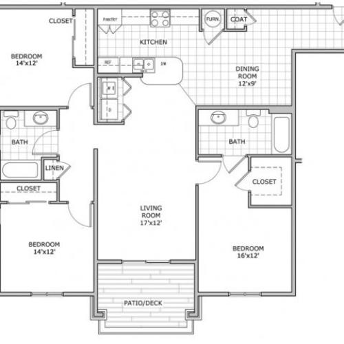 3 bedroom and 2 bathroom floor plan image