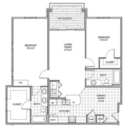 floor plan image for 2 bedroom and 2 bathroom apartment home at Coryell Courts