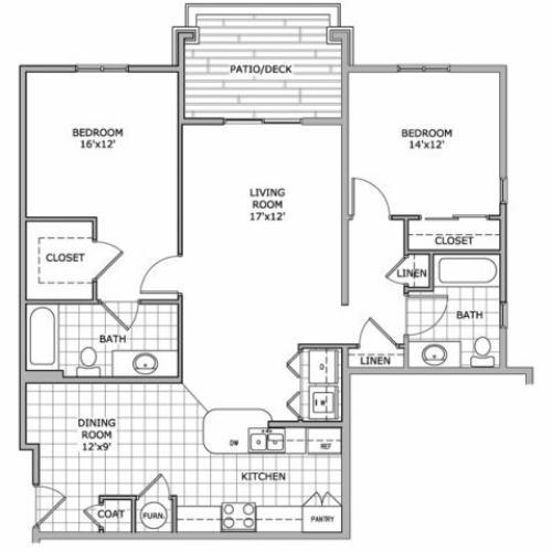 floor plan image of 2 bedroom and 2 bathroom apartment