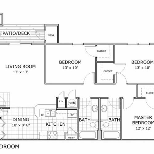 floor plan image of a furnished 3 bedroom apartment at Coryell Crossing