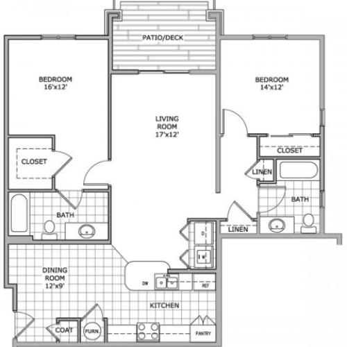 floor plan image of furnished 2 bedroom apartment home