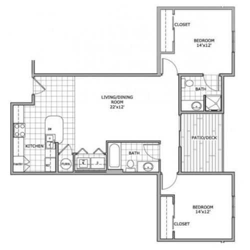 floor plan image of a furnished 2 bedroom and 2 bathroom apartment home at Coryell Courts