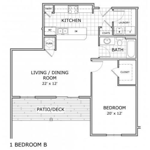 floor plan image of 1 bedroom apartment home at Coryell Courts in Springfield, MO