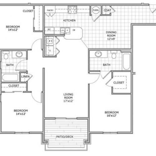 floor plan image of a furnished 3 bedroom apartment home