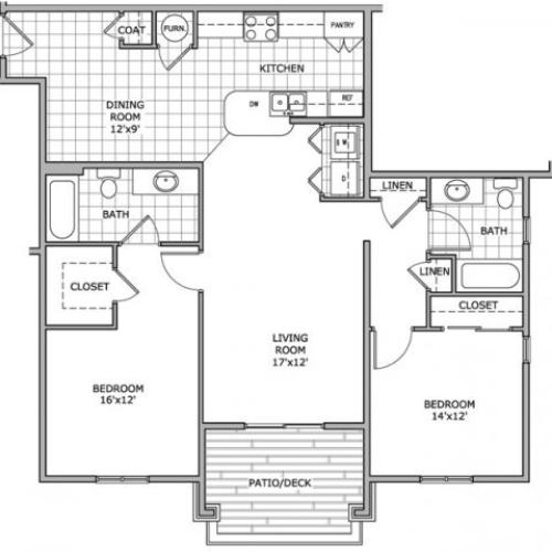 floor plan image of a furnished 2 bedroom apartment at Coryell Courts