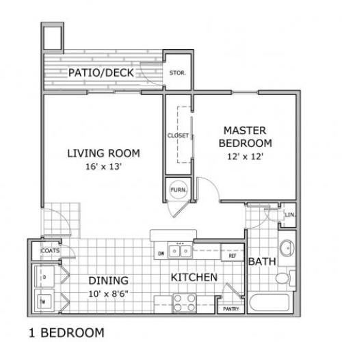 one bedroom apartment floor plan image