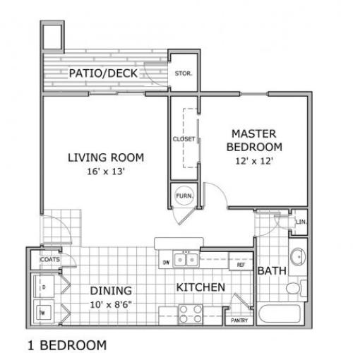 floor plan image of one bedroom apartment at Orchard Park