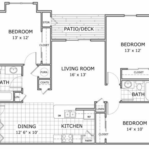 floor plan image of a 3 bedroom furnished apartment at Marion Park
