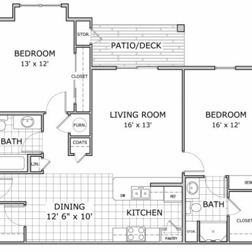 Floor plan image of a furnished 2 bedroom and 2 bathroom apartment