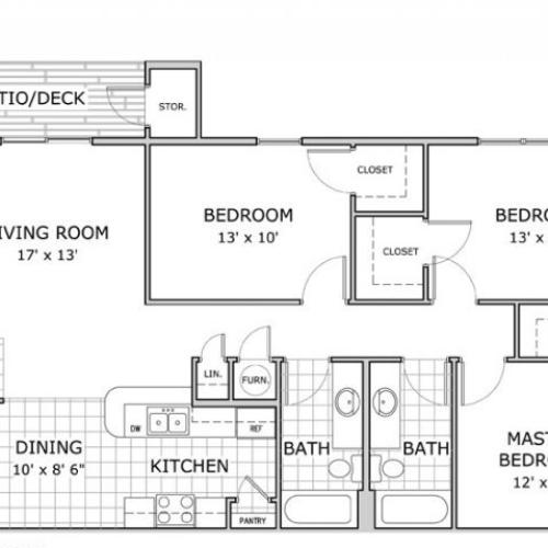 floor plan image of a furnished 3 bedroom and 2 bathroom apartment home at Hawthorn Suites