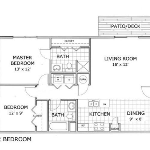 floor plan image of a furnished 2 bedroom and 2 bathroom apartment home at Hawthorn Suites