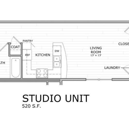 floor plan image of studio apartment at Coryell Commons