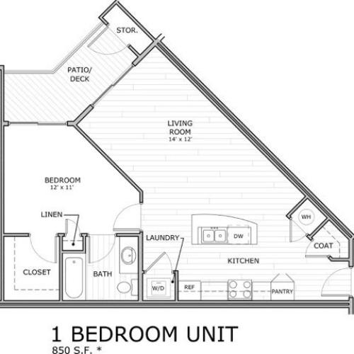 floor plan image of 1 bedroom apartment at Coryell Commons