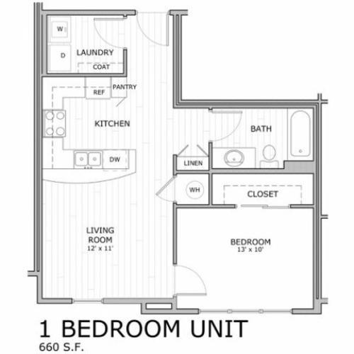 Floor plan for one bedroom apartment