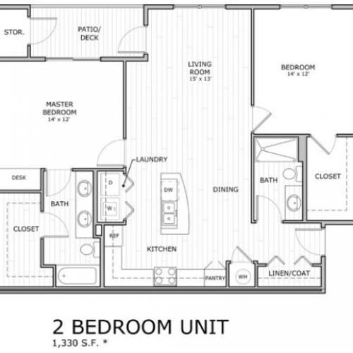 floor plan for 2 bedroom apartment