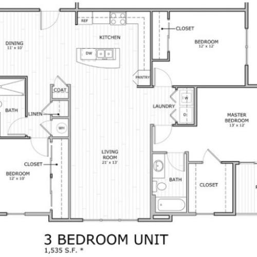 floor plan image of 3 bedroom apartment home