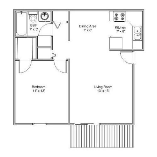 1 bedroom apartment floor plan image