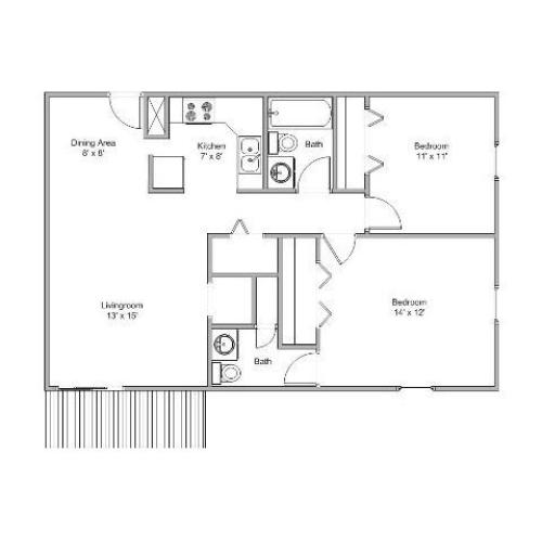 image of a 2 bedroom apartment home