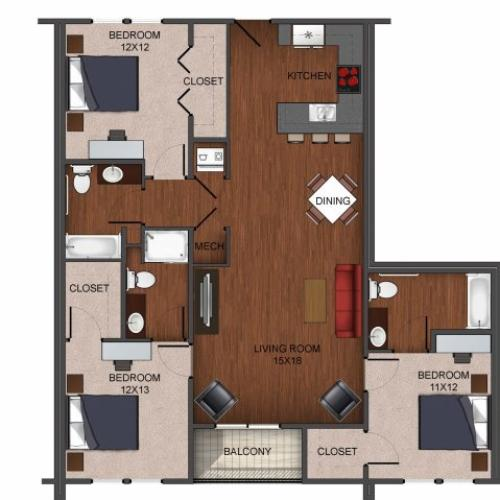 floor plan image of 3 bedroom apartment home image