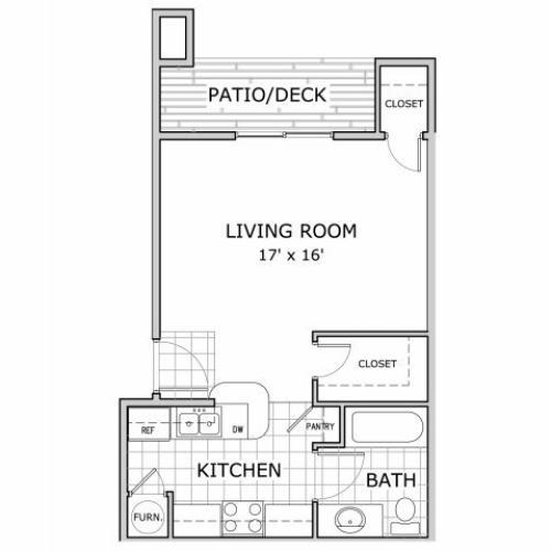 Studio floor plan layout at Battlefield Park apartments in Springfield, MO