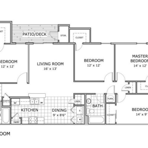 Floor plan image of 4 bedroom apartment
