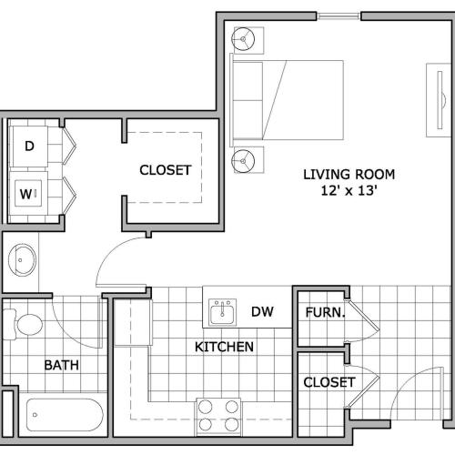 Studio Apartment | The Abbey | Springfield, MO