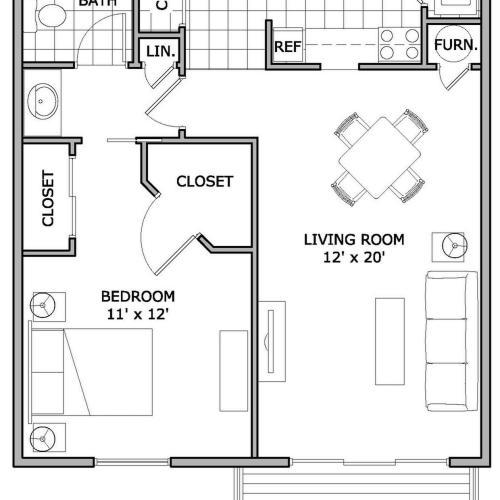 Studio 1 bath apartment in springfield mo the abbey - One bedroom apartments springfield mo ...