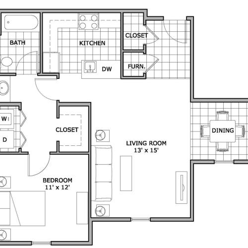 The Abbey Apartment Homes one bedroom floor plan image