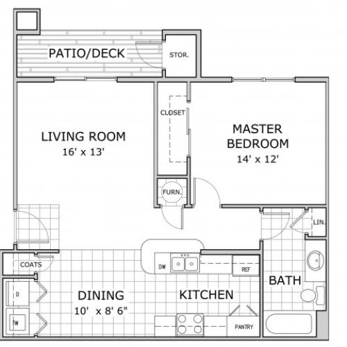 Sherwood Villlage 1 Bedroom floor plan