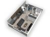 The Falcon micro studio floor plan apartment