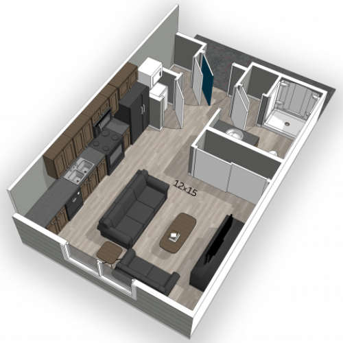 The Falcon micro studio floor plan apartment