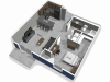 The Falcon apartments one bedroom floor plan with concrete flooring