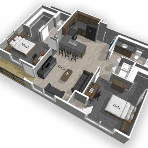 The Falcon Apartments 2 bedroom floor plan with hardwood style flooring