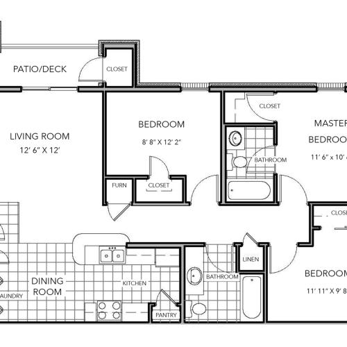 3 bedroom floor plan image