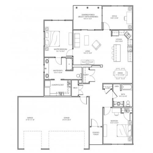 2 Bedroom Premium Floor Plan Image