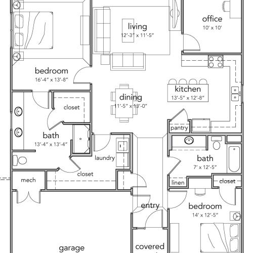 2 Bedroom Deluxe Floor Plan Image