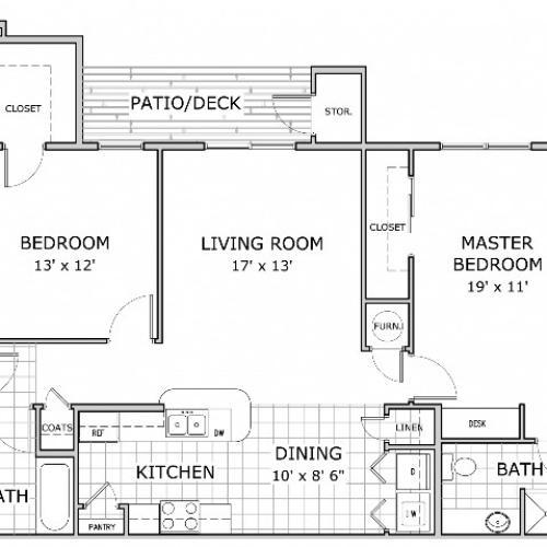 Coryell Crossing 2 Bedroom Floor Plan