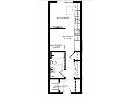 Floor Plan 7 | 1 Bedroom Apartments In Denver Colorado | Tennyson Place 1